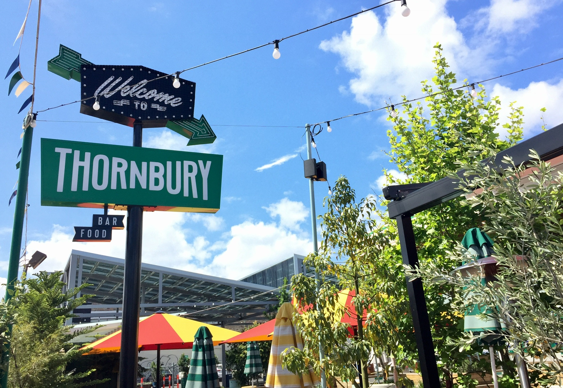 Blue skies over Welcome to Thornbury, Melbourne