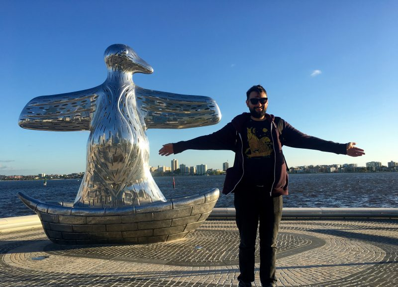 Dave and the giant silver duck in Perth