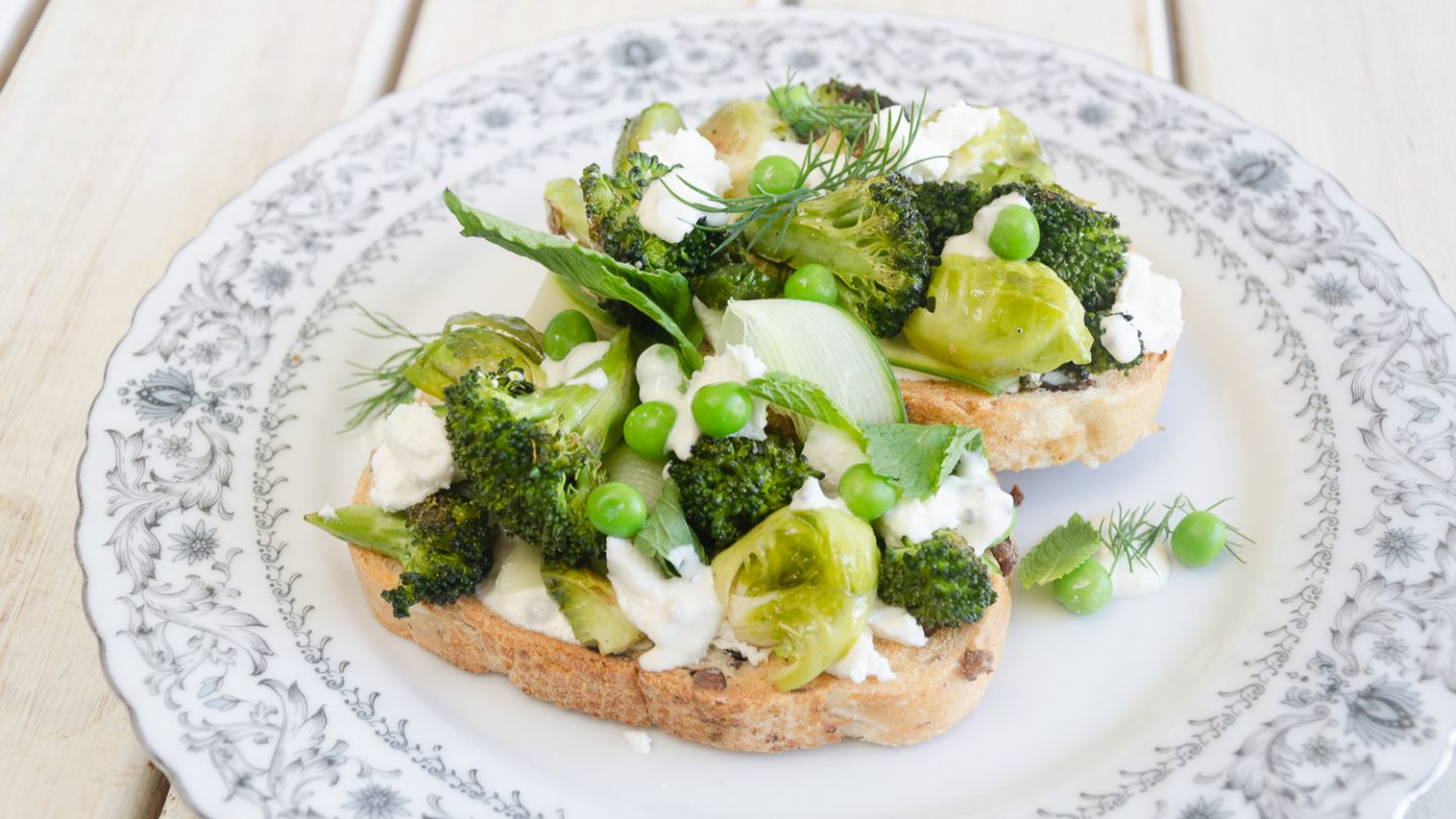 Roasted Greens & Goats Cheese on Toast