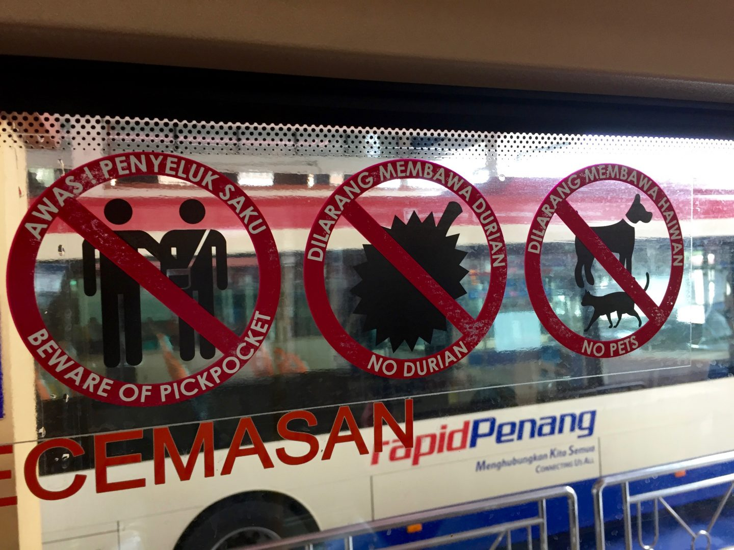 No Durian sign on Penang bus