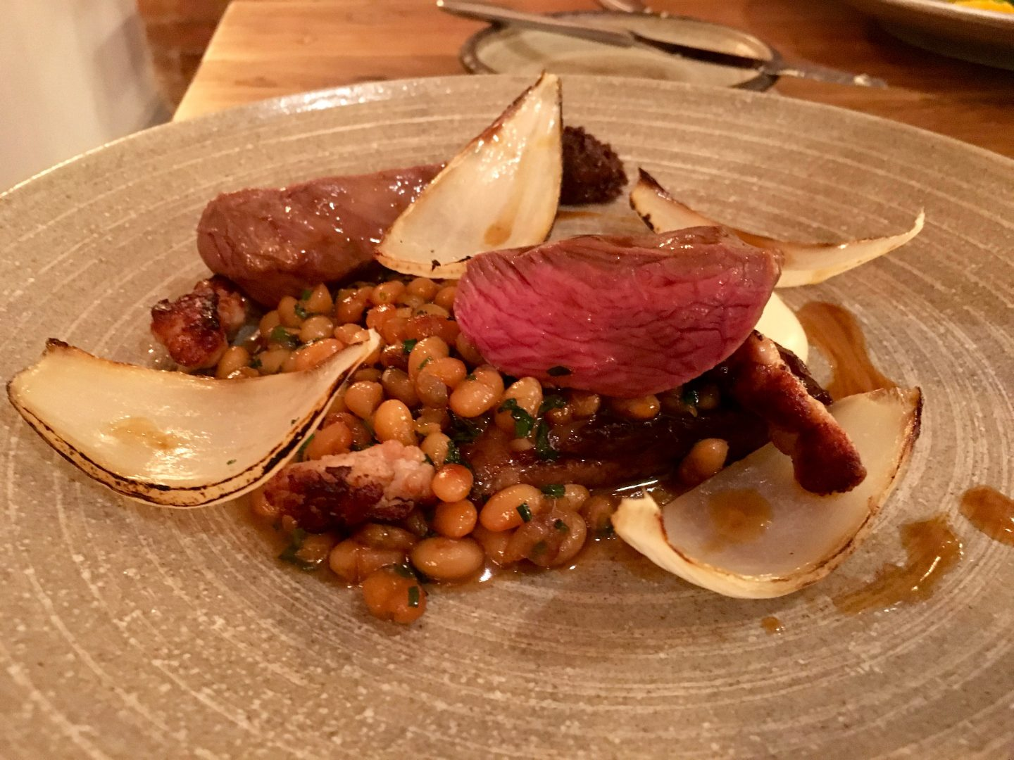 Lamb, onions and beans at the Spotted Duck in Mountsorrel