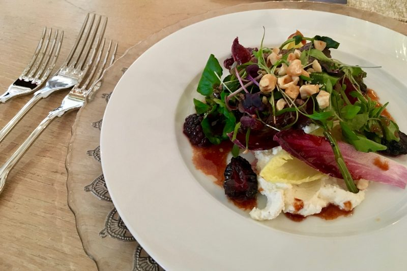 mallard, hazelnut and blackberry salad with goats curd