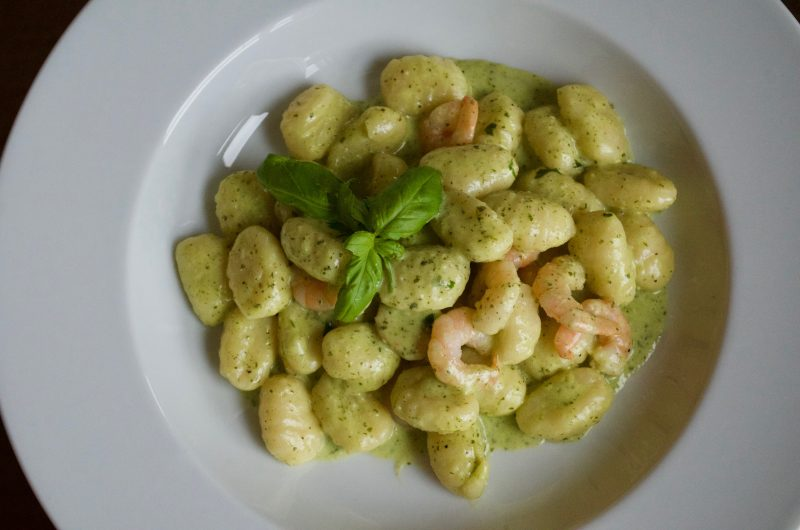 Gnocchi with green sauce