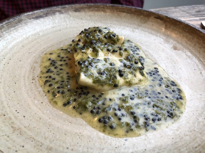 Steamed brill, sea lettuce & smoked herring roe sauce