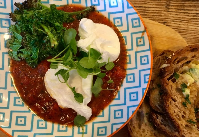 Moroccan Eggs at Whites Botanicals Cafe in Bristol