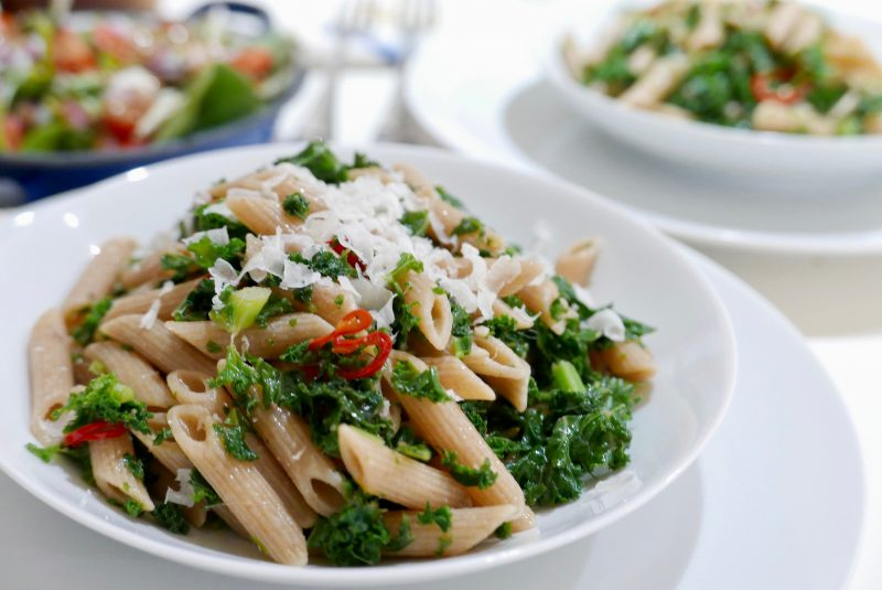 Riverford Kale, anchovies and garlic pasta