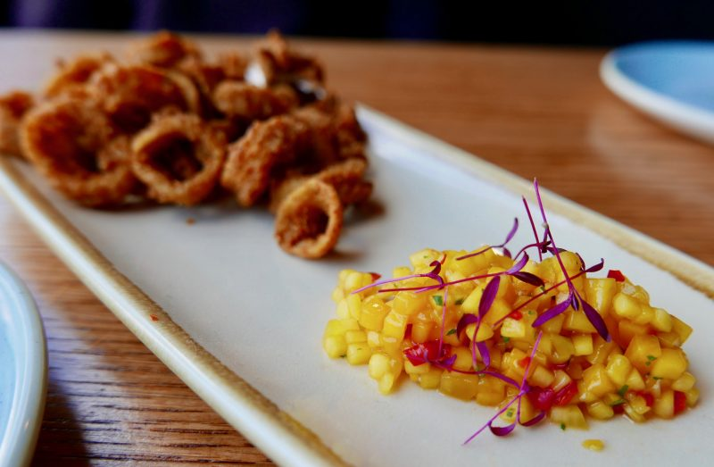spicy crispy squid with mango and chilli salsa