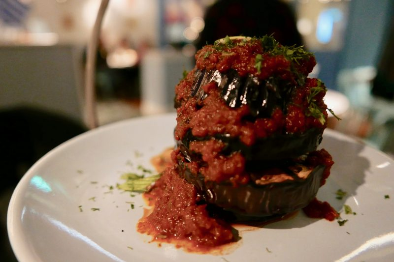 Aubergine with garlic tomato sauce