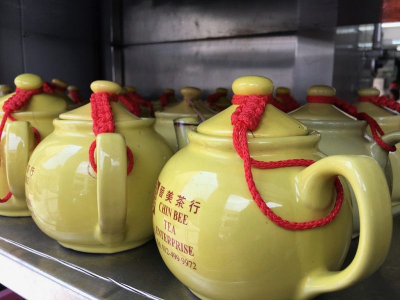 Yellow Yum Cha Teapots lined up